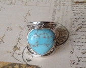 50% Wide Sterling Ring Turquoise Heart Ring 925 Braided Silver Band