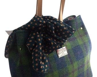 Harris tweed bag tote purse made in Scotland bridesmaid woman girl Scottish gift green blue large