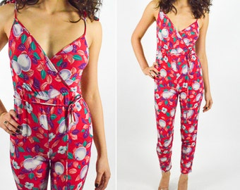 1970's FLORAL ROMPER One Piece with a Tapered Skinny Leg V Neck Line with a Cinched Waist and Fruit Floral Pattern