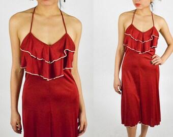 1970's Tan BOHO RUFFLE Low Back Maxi Dress Halter Neck Midi Dress High Low Hem