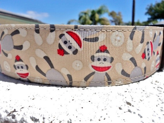 """Sale Large Dog Collar Sock Monkey 1.5"""" wide Side Release buckle or Martingale collar style - small dog see the 3/4"""" listing"""
