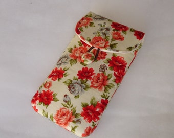 Etui pour iphone - smartphone tissu  imprimé fleurs couleurs vives
