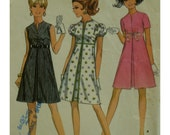 "60s Empire Waist Dress Pattern, Front Pleat, Slit Neck, Sleeveless/Short Sleeves, A-line Skirt,  McCalls No. 9559 Size 7/8 (Bust 29""74cm)"