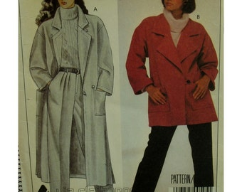 Loose Fitting Coat Pattern, Lined/Unlined, Notched Collar, Patch Pockets, Side Slits, Jacket, Liz Claiborne, McCalls No. 9324 UNCUT Size 12
