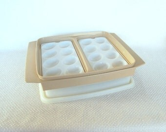 Vintage Tupperware Egg Tray Beige Base Store and Display Delicious Deviled Eggs Good for Serving, Too Easter Egg Tray