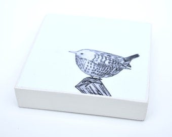 Wren: woodblock made from a collagraph print by Sally Fisher