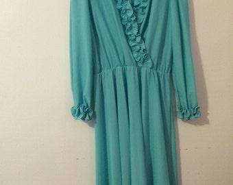 Gorgeous Turquoise Blue 1970's Disco Dress-Vintage Ruffle Dress, Plus Size