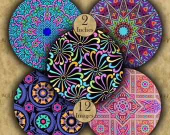 2 inch Digital Printable Circles 50.8 mm BRIGHT DESIGNS for Pendants Magnets Pinbacks Crafts