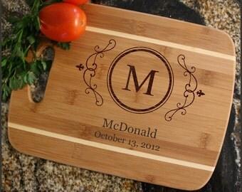Personalized Cutting Board, Cheese Board, Custom Engraved Bamboo Cutting Board, Personalized Wedding Gifts, Housewarming, Thin, Stripe D10