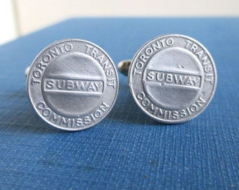 Toronto Subway Token Cuff Links - Repurposed Silver Tone Coins / Transit Tokens