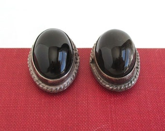 Sterling Silver & Black Earrings - Larger, Vintage Mexico