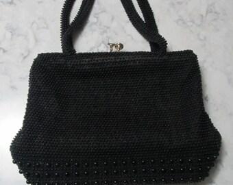 "VINTAGE 1950's Retro Black "" Beaded"" Purse Bag-Double Handles"