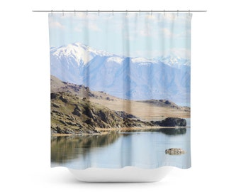shower curtain blue and brown photo spring photography mountain home decor landscape