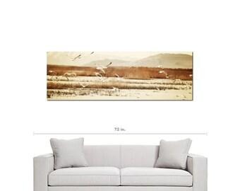 Bird Art - Tan Brown Canvas - Seagull Canvas - 20 x 60 Canvas - Panoramic Canvas - Nautical Canvas - Gallery Wrapped Canvas - Photo Canvas