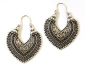 Bohemian Earrings Gypsy Ethnic Alloy silver Earrings Heart shape Ornate Hoop Drop Earrings engraved by Inali