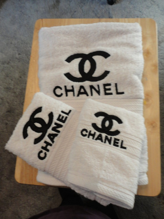 Chanel Inspired Embroidered Bath Towel Set Bath By Cybergeeks2