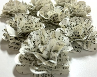 Eight Small Dictionary Page Paper Flowers
