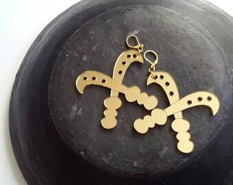 SALE//Courage Adinkra gold acrylic earrings
