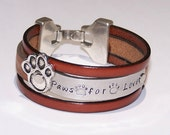 Pet Paw Print Leather Cuff Bracelet - Personalized - Your Choice of Words - Hand Stamped - Metal Stamped - Pet Memorial - Pet Rescue