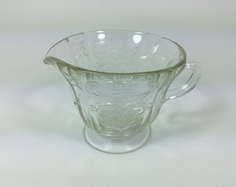 Vintage Federal Glass Co. Creamer Clear Glass Footed Madrid Pattern