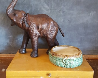 Vintage Bamboo Pottery Vase/Low Planter
