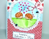 Happy Valentines Day Hedgehogs Greeting Card - Handmade Paper Card for Him or Her with Coordinating Embellished Envelope