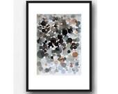 Watercolor Black dots, black space Abstract watercolor print, abstract painting dots