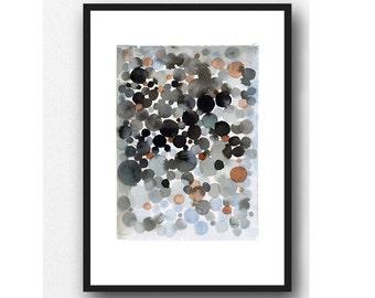 Abstract Watercolor Black painting, dots, black space, watercolor print, abstract painting bubbles
