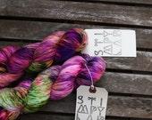 Graciosa - Hand Dyed Sock Yarn - MCN yarn - Superwash yarn - Pink Green Purple - dyed by Stimpylab