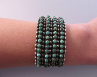 1940s Sterling Turquoise Four Row Cuff Bracelet