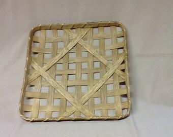 """14"""" Square Tobacco Basket, Hand Woven, Replica, Walnut Stain"""