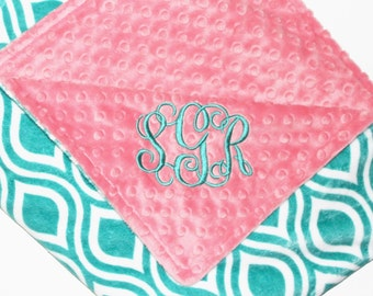 PERSONALIZED Teal Oceano and Coral Baby Blanket, DOUBLE MINKY Blanket, Baby Girl Blanket, Monogrammed Blanket, Custom Blanket, Coral, Teal