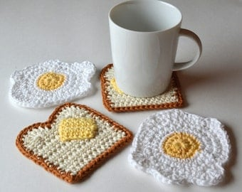 Eggs and Toast Coasters, Set of 4 or 6, Gift Wrap in Sheer White Organza Bag Available