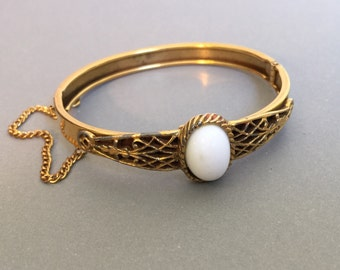 Vintage Bangle Bracelet in Gold with White Glass Cabochon a pretty hinged bangle cuff bracelets gifts for her