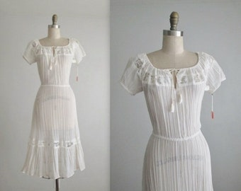 STOREWIDE SALE 70's Gauze Dress // Vintage 1970's Bohemian White Gauzy Cotton Lace Summer Festival Dress NOS Deadstock Tags Xs
