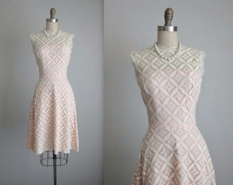 60's Lace Dress // Vintage 1960's Mod Cream IllusionLace Cocktail Party Dress