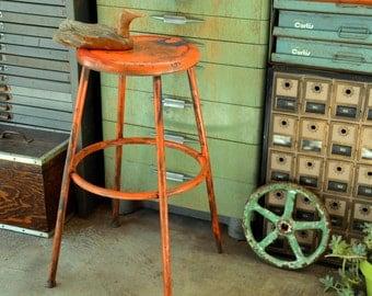 Industrial Midcentury Metal Shop Stool: Antique Distressed Industrial Rustic Orange Steel Kitchen, Dining, Bar or Game Room Decor