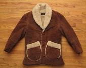 mens vintage suede shearling jacket