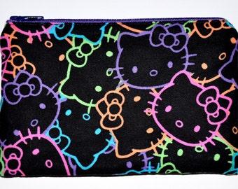 Neon Hello Kitty zipper Pouch Coin Purse Zippered