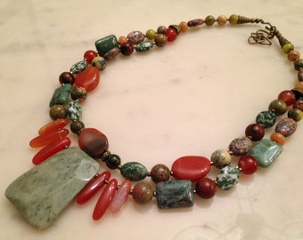 Chunky organic earthy jasper necklace. Statement, big, bold green jade, olive jade, multi strand, beaded, vintage style