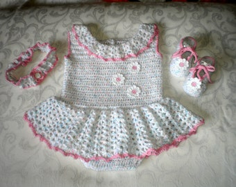 Pink Trimmed Romper, shoes and Headband Set