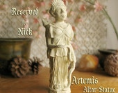 RESERVED for Nick - Custom Order - Artemis Altar Statue - Handcrafted Statue with Off-White Acrylic Finish