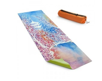 Yoga Mat Japanese Temple Cherry Blossoms Floral Watercolor Painting - Exercise Mat