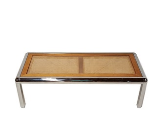Milo Baughman attrib Tubular Chrome and Cane Table