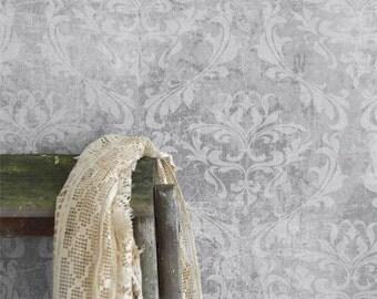 Jeanne d'Arc Living Faded Grey Damask Wallpaper Remnant