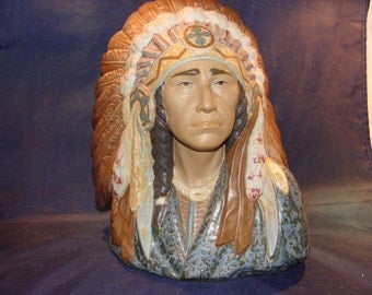 Retired Lladro #12127 Indian Chief Perfect Condition! Work Of Art