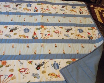 """GNOME GARDENER QUILT Sale unisex baby quilt Gnomes and Gardening Tools appx 38"""" x 42""""/Baby Shower Gift"""