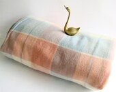Pure Wool, Pastel Checked Blanket,  Onkaparinga, Made in Australia, Pink and Blue, Single Bed, Throw Blanket