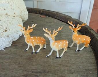 Miniature Deer. 1960s. Deer Figurines. three plastic deer. spotted deer. Hong Kong. deer gift idea. miniature gift idea. woodland diorama