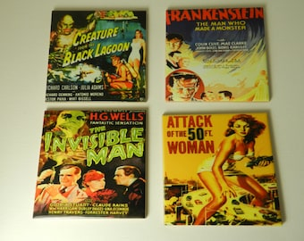 Horror Movie Tile Coasters Set Four Black Lagoon 50 ft Woman  Ceramic  Old Horror Movie Poster  Drink Coasters Media Room Halloween Gift